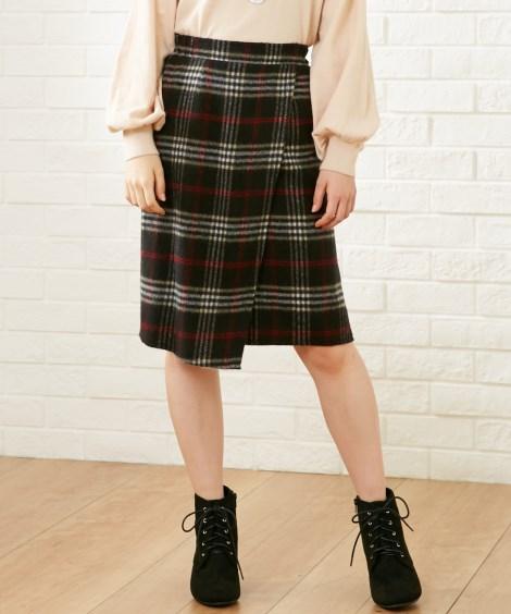 <ニッセン> 裾レースツイード調フレアスカート (ひざ丈スカート) 6