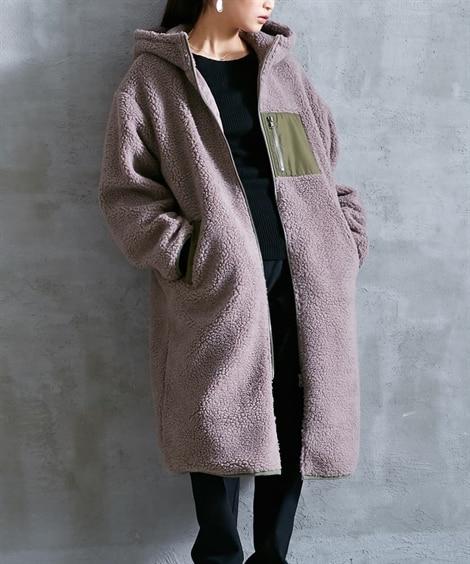 フード付ロング丈ボアコート (コート)(レディース)Coat...