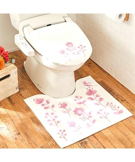 トイレマットセット(ピンクフラワー) トイレマット&フタカバーセット, Toilet goods(ニッセン、nissen)