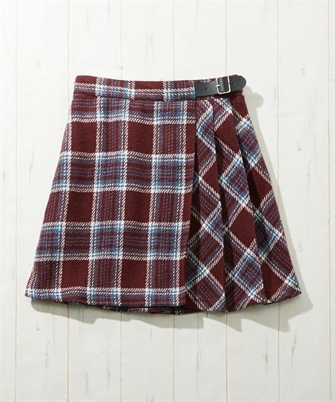 ラップ風チェックスカート(女の子 子供服。ジュニア服) キュ...