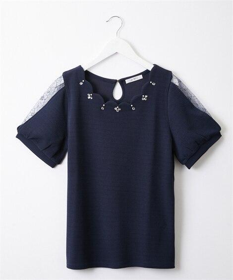 袖レース衿ビジュー付ジャガードトップス (Tシャツ・カットソ...