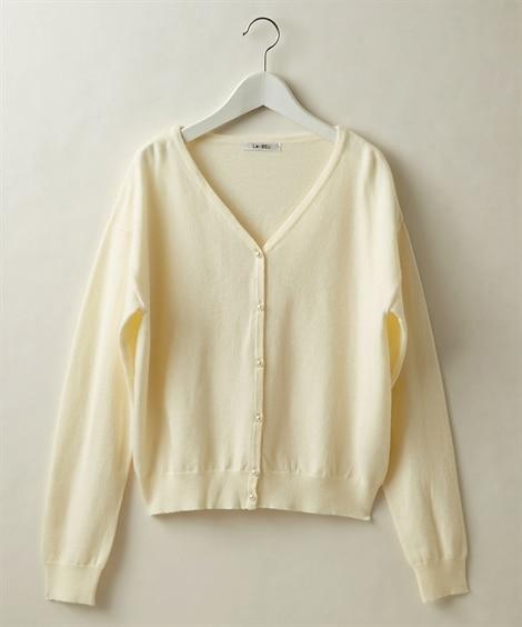 パール調ボタンがかわいい◎Vネックカーディガン (ニット・セーター)(レディース)Knitting, Sweater,
