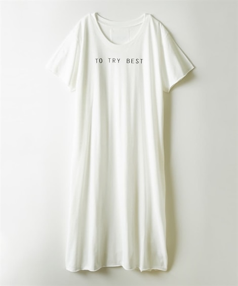 ロングTシャツ ロゴワンピース (ワンピース),dress