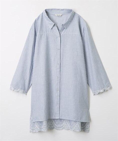 7分袖裾刺しゅうシャツチュニック (ブラウス),Blouse...