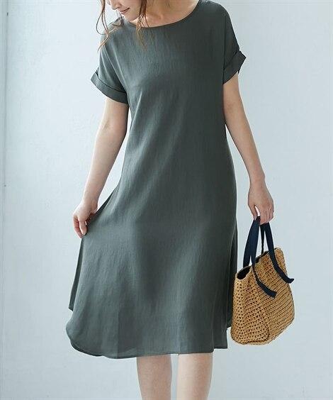 肉厚スラプサックワンピース (ワンピース),dress...
