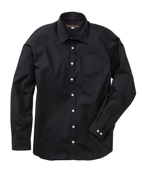 日本製綿100%ブロード長袖黒シャツ カジュアルシャツ...
