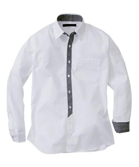 【紳士服】 日本製前たてチェック柄切替長袖シャツ メンズカジ...