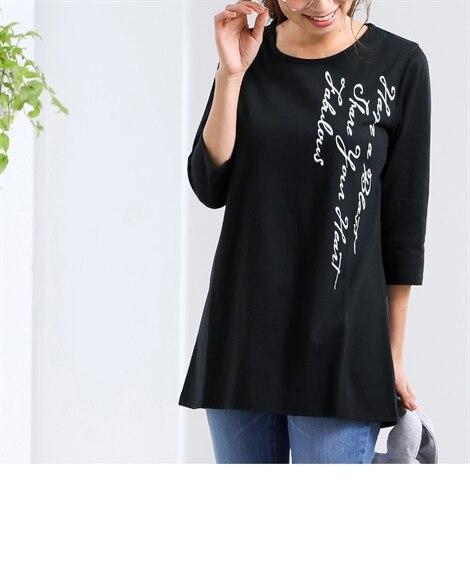 ロング丈7分袖プリントTシャツ (Tシャツ・カットソー)(レ...