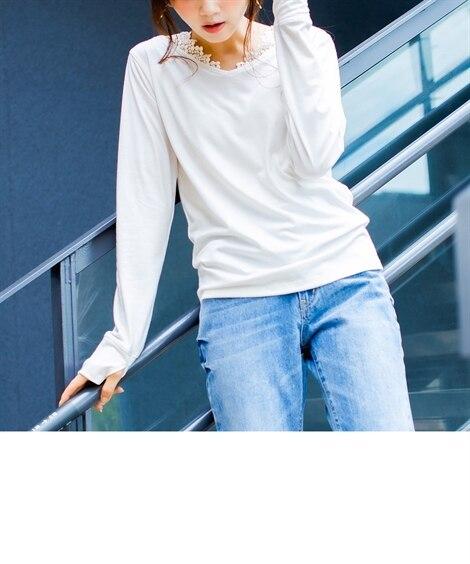 衿レース指穴付Tシャツ (Tシャツ・カットソー)(レディース...