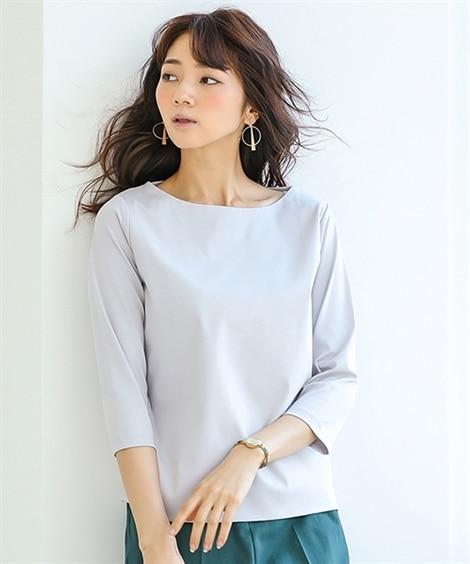 【大人の品格】ダブルフロントカットソーボートネック7分袖トッ...