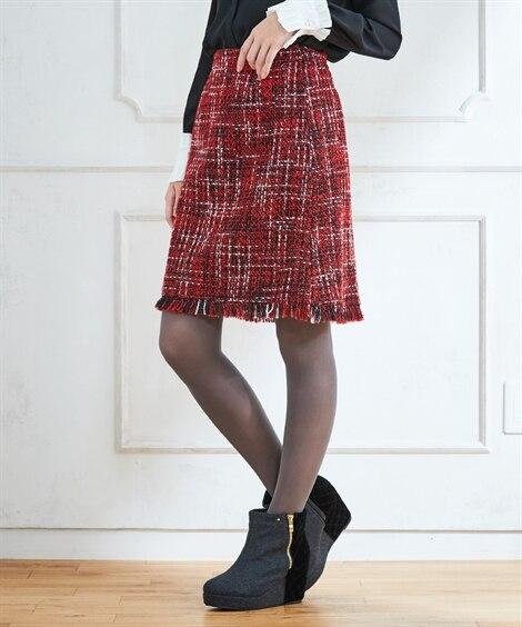 スタクロ 裾フリンジツィードミニスカート (大きいサイズレデ...
