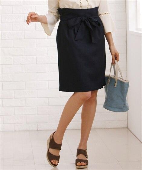リボン付きカラースカート (大きいサイズレディース)スカート