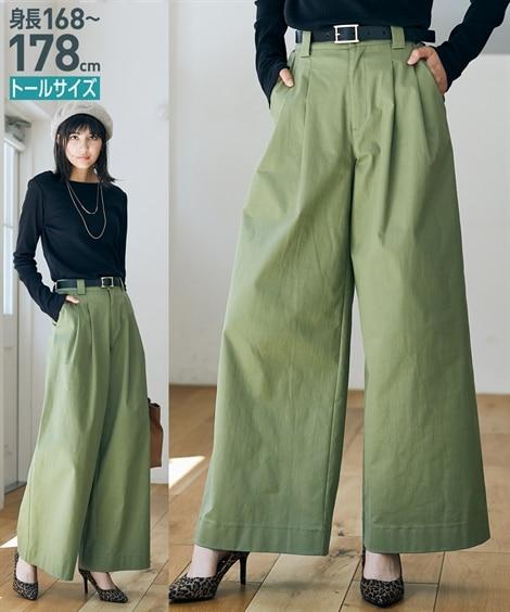 トールサイズ フレアワイドパンツ 【高身長・長身】ワイドパン...