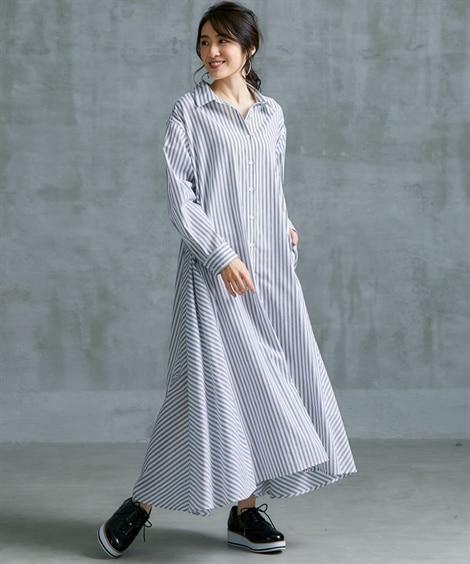 MOODE 綿100%ストライプ切替ロングシャツワンピース ...