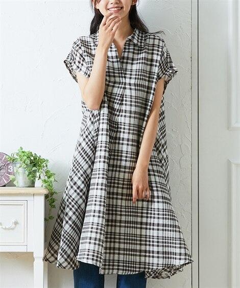 チェック柄 スキッパーシャツワンピース (ワンピース)Dress