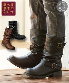 <ニッセン>エンジニアミドルブーツ(低反発中敷)(選べる履き口) ブーツ・ブーティ画像
