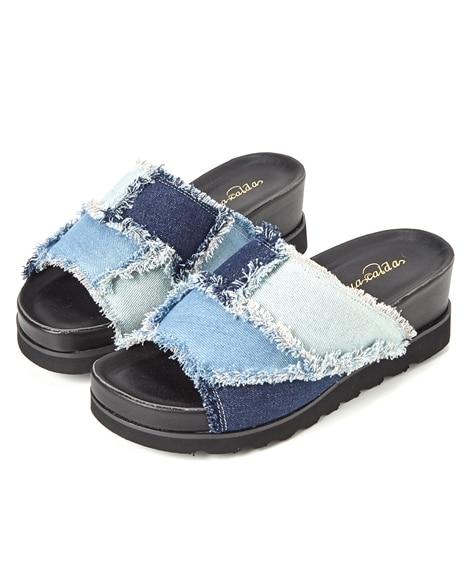 <ニッセン>【ゆったり幅】パッチワークサンダル(低反発中敷)(ワイズ4E) サンダル Sandals