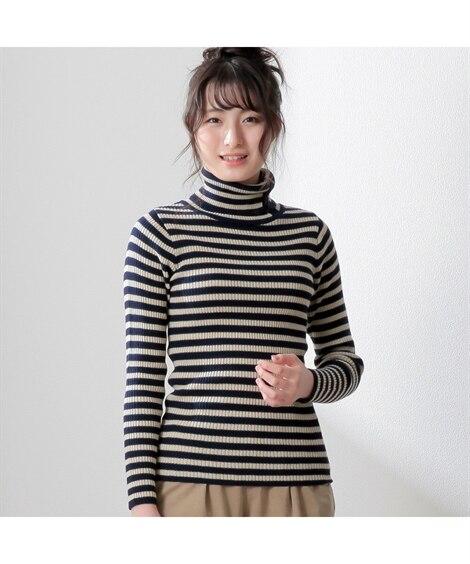 【新色追加】衿ボタン開きリブ編タートルネックセーター アンサ...