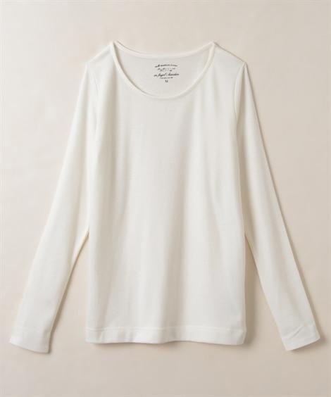 吸湿発熱。静電気防止加工付レーヨン混しなやか長袖Tシャツ T...