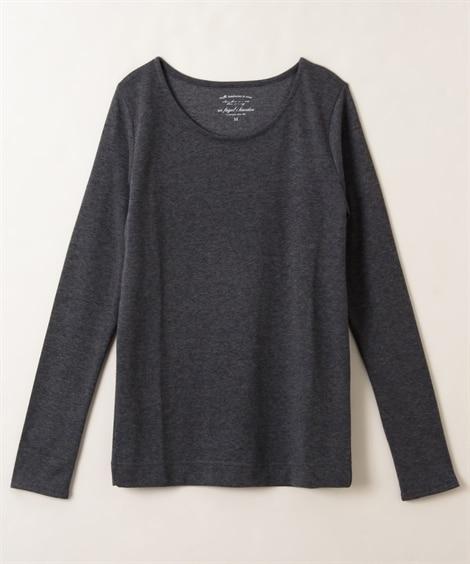 吸湿発熱。静電気防止加工付レーヨン混しなやか長袖Tシャツ (...