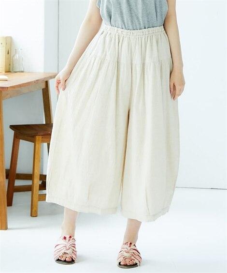 綿麻裾タックコクーンパンツ (レディースパンツ),pants