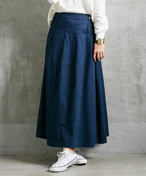 綿ツイルラップデザインロング丈スカート (ロング丈・マキシ丈...