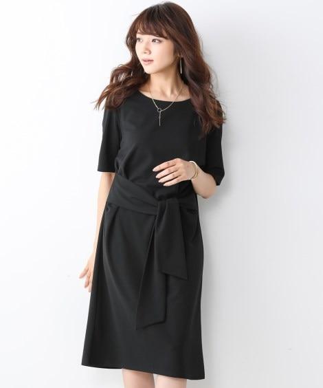 【ジャージーシリーズ】ウエストリボンカットソーワンピース (...