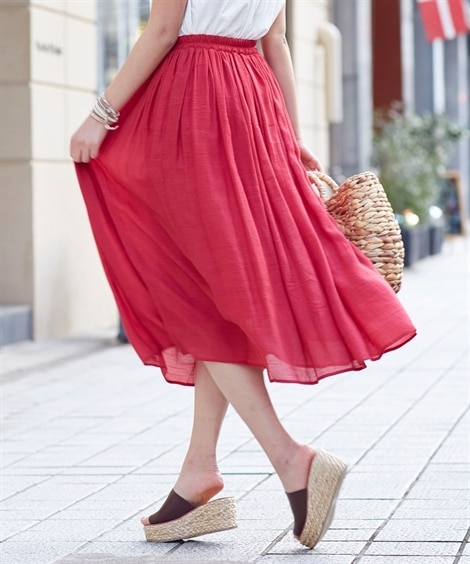 【新色追加♪】ふわり軽い楊柳ロングスカート(ウエスト改良20...