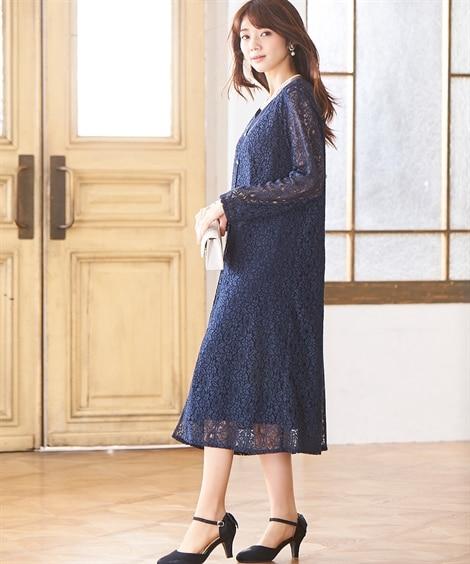 ロングレース羽織アンサンブルドレス