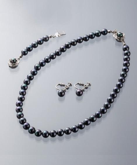 貝パール2点セット(選べる玉径&長さ)(人工真珠)(ネックレ...