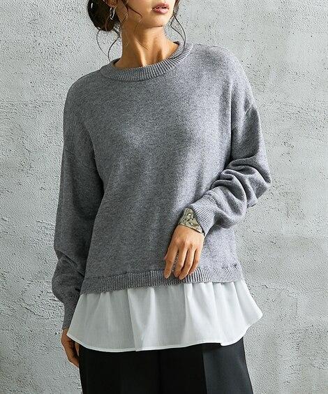 シャツ重ね着風後ろリボンニット (ニット・セーター)(レディ...