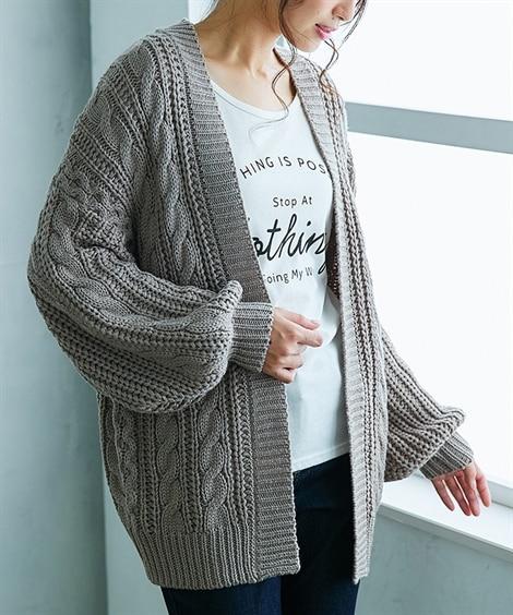 ざっくりケーブル編ニットカーディガン (カーディガン)(レデ...