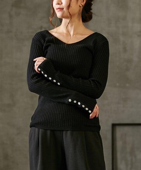 袖シェル風ボタン付Vネックリブニット (ニット・セーター)(レディース)Knitting, Sweater,