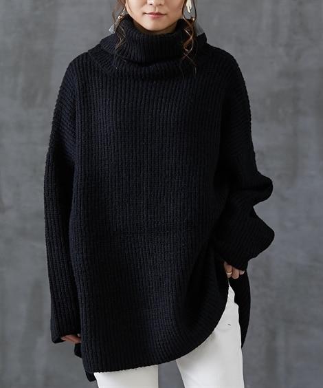 バックボタンデザインゆったりニット (ニット・セーター)(レディース)Knitting, Sweater,