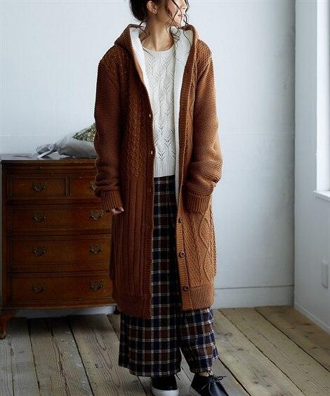 【ゆったりワンサイズ】裏ボアケーブル編フーデットニットカーディガン (ニット・セーター)(レディース)Knitting, Sweater,