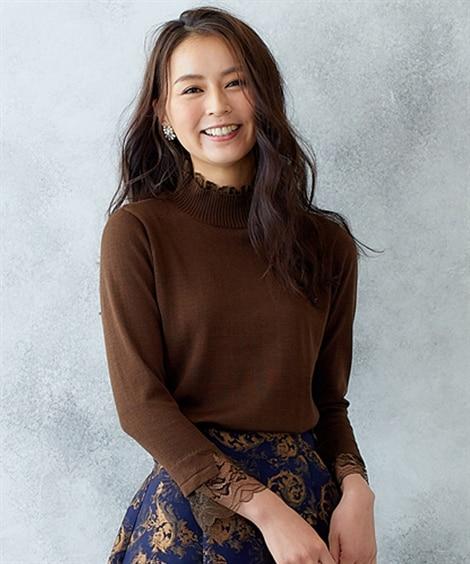 【Hana服】衿袖口レース使いボトルネックニット (ニット・セーター)(レディース)Knitting, Sweater,