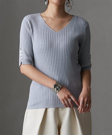袖シェル風ボタン付Vネック半袖リブニット (ニット・セーター)(レディース)Knitting, Sweater,