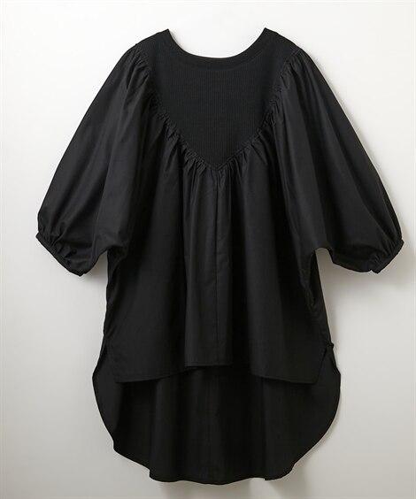 重ね着風デザイン半端袖ブラウス (ブラウス)Blouses, Shirts,