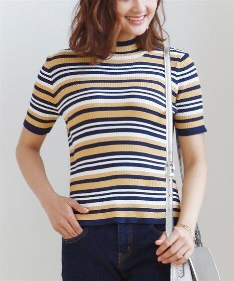 小さいサイズ 半袖ハイネックセーター ポロシャツ