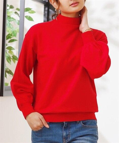 小さいサイズ ボリュームスリーブボトルネックセーター...