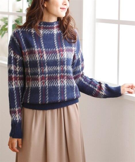 小さいサイズ チェック柄ボトルネックセーター ポロシャツ