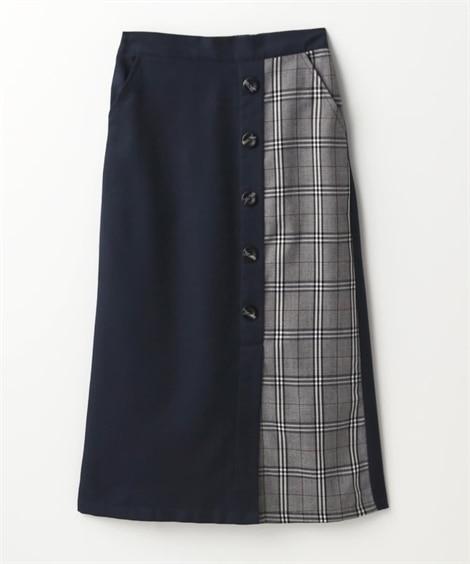 チェック柄切替フロントボタンタイトスカート (ひざ丈スカート...