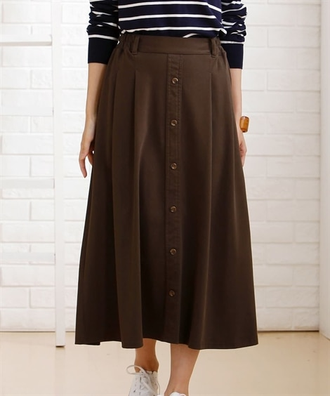 布帛見えカットソー素材 前ボタンAラインスカート (ひざ丈スカート),skirt