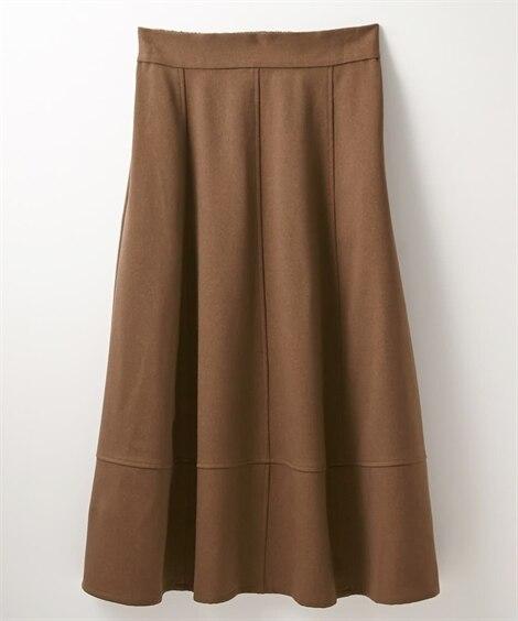 ウール調裾切替デザインフレアスカート (ひざ丈スカート)Sk...