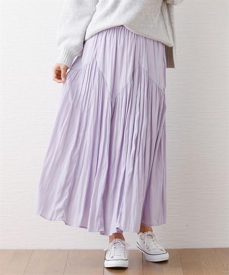 ビンテージサテン ティアードスカート (ロング丈・マキシ丈ス...