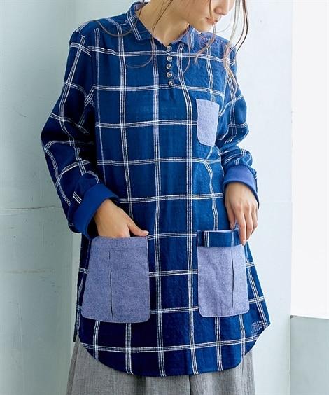 【お出かけできる家事服】便利ポケット付9分袖シャツチュニック...