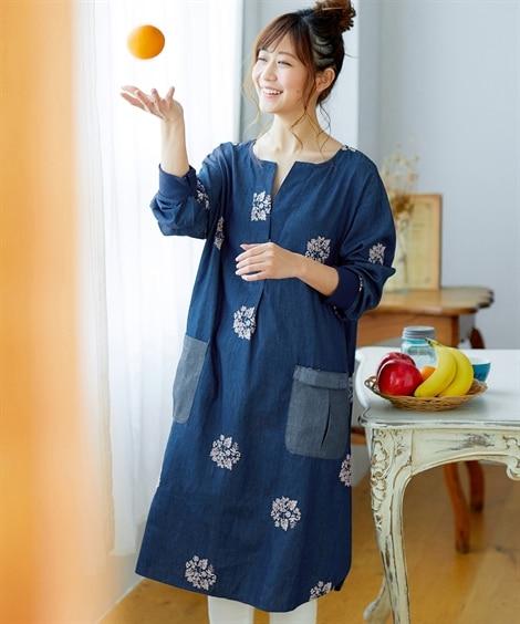 【お出かけできる家事服】便利ポケット付デニム刺しゅう入9分袖ワンピース (ワンピース)Dress