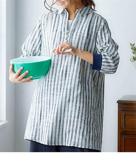 【お出かけできる家事服】便利ポケット付袖口リブストライプシャツチュニック (ブラウス)Blouses, Shirts,