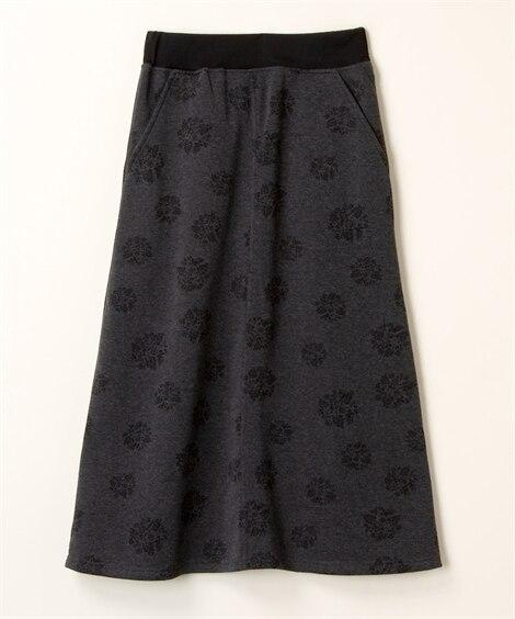 【大きいサイズ】 裏起毛ボタニカルプリントAラインスカート【lorenzo righi】 スカート, plus size skirts