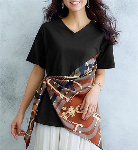【Hana服】スカーフ使い風Tシャツ (Tシャツ・カットソー)(レディース)T-shirts,